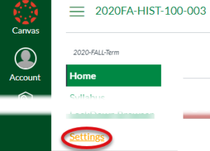 Screenshot of Canvas showing settings for cross listing. Click the settings link.